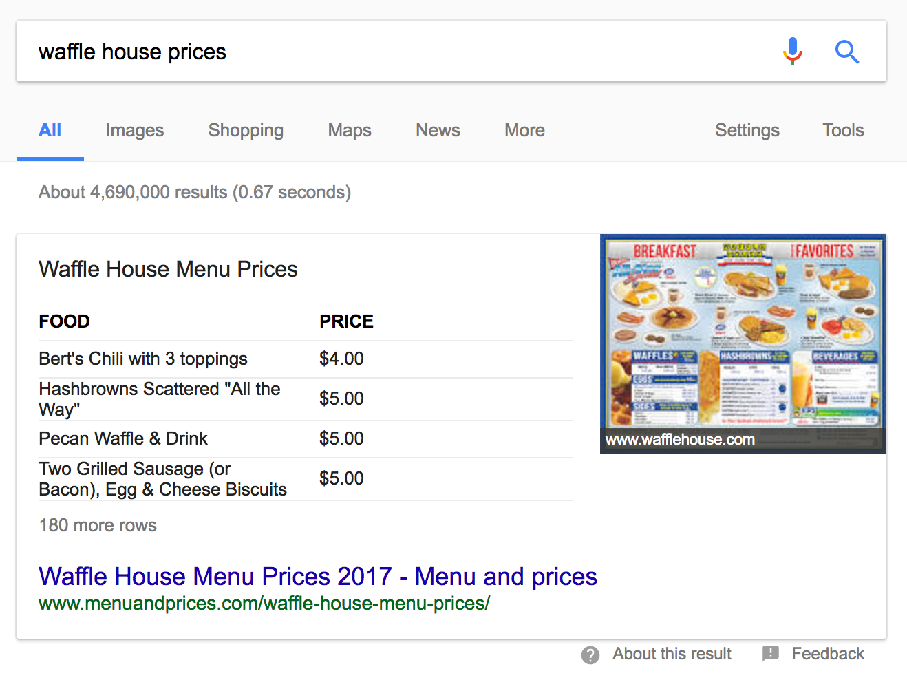 featured snippets table format example