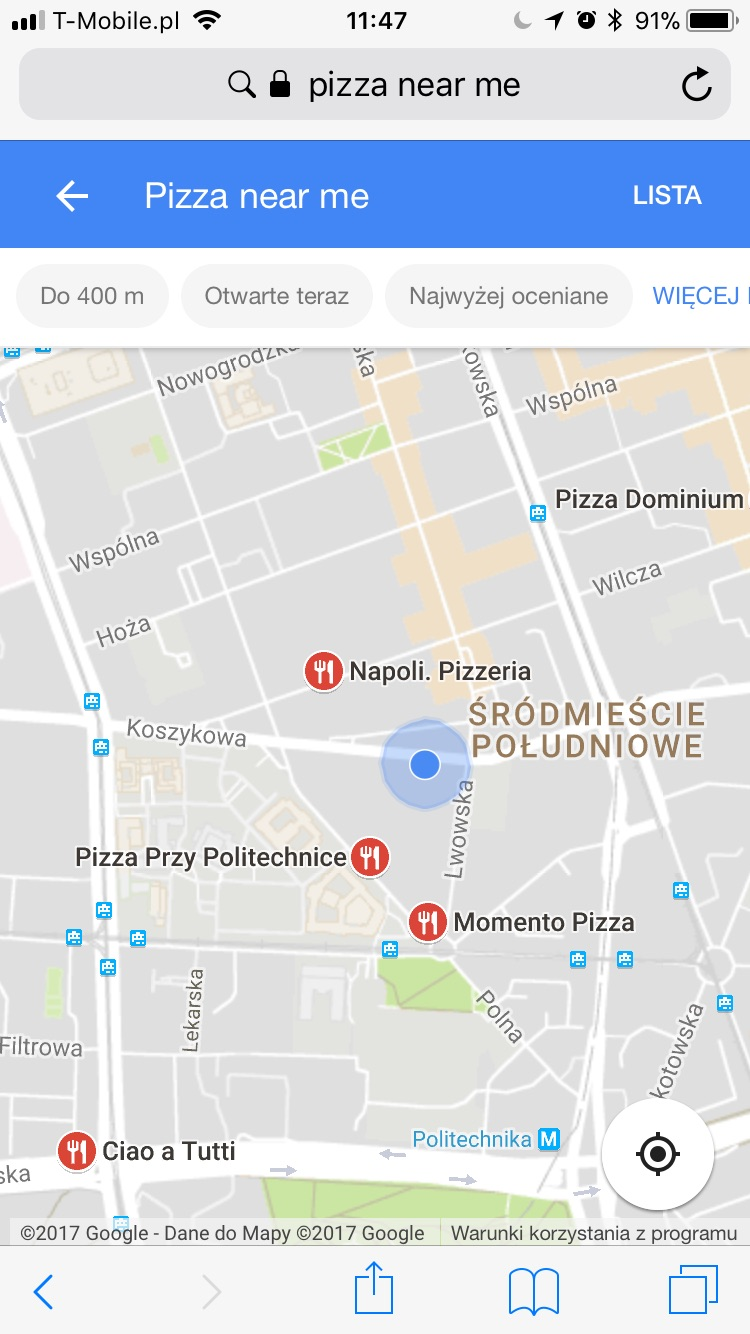 mobile local pack results with geolocation turned on
