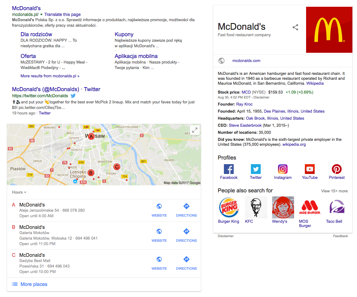 Knowledge panel and local pack serp features