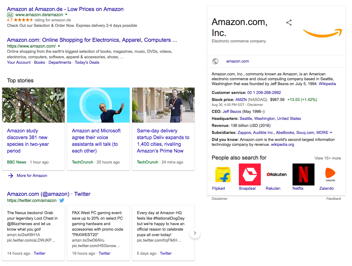 knowledge panel serp feature