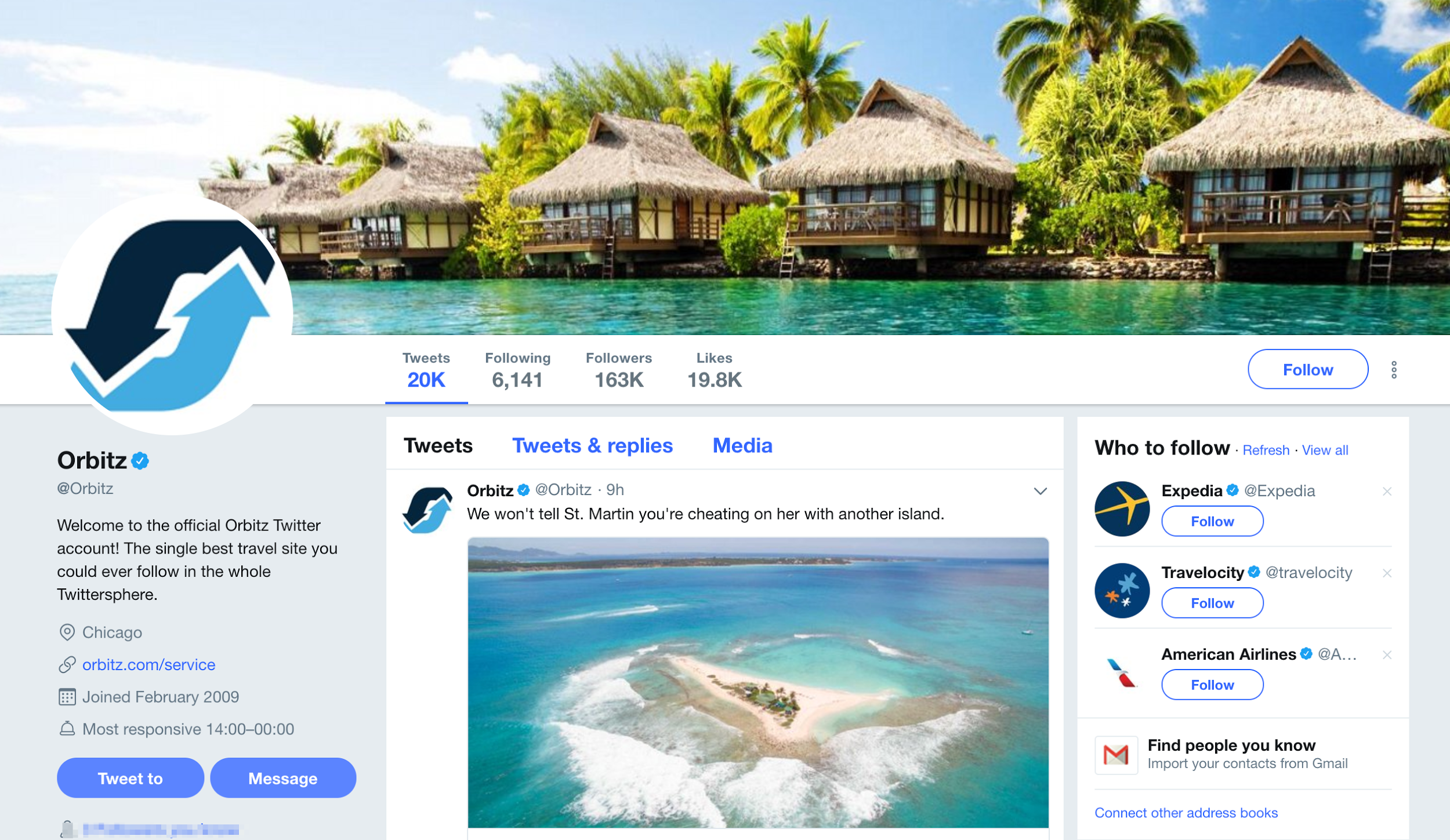 orbitz twitter social media marketing for travel agents