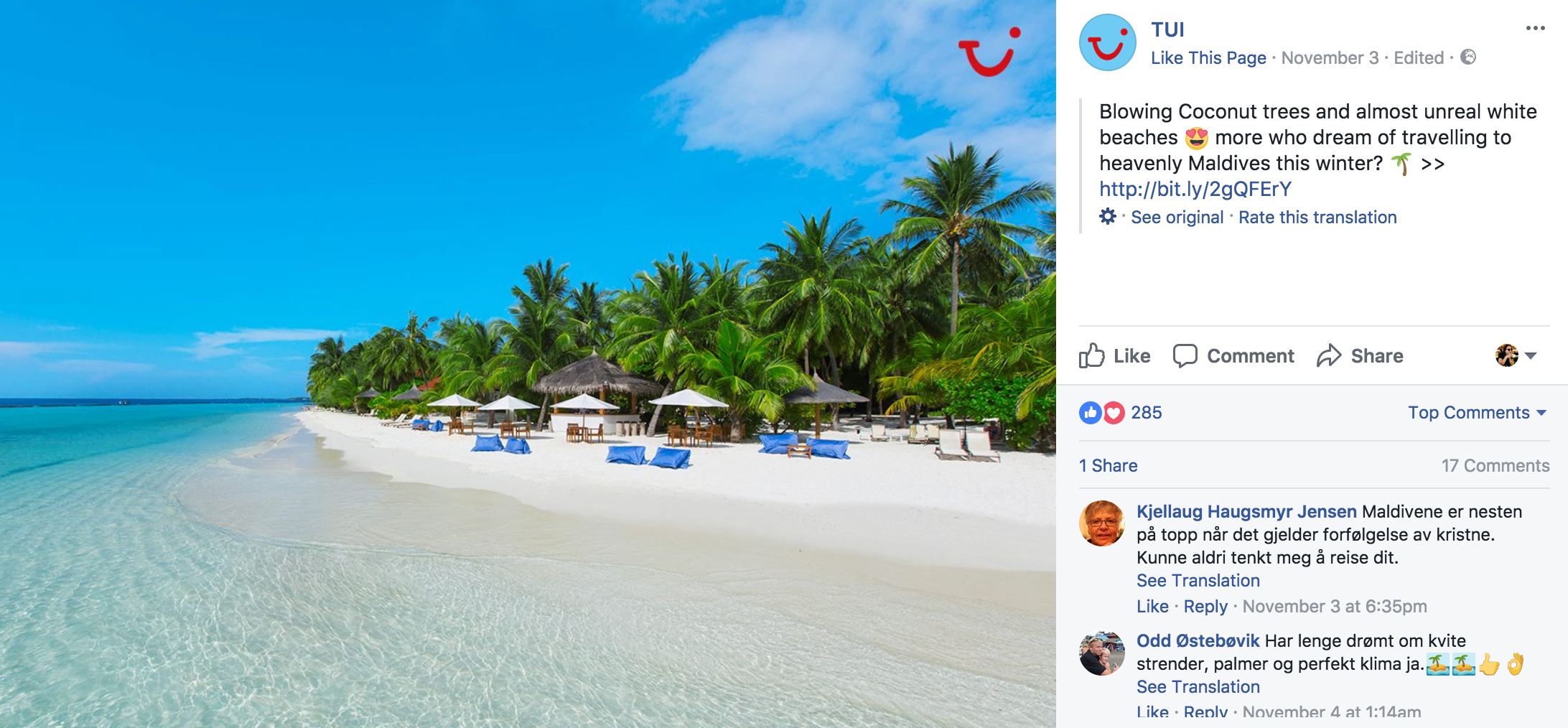 TUI travel agent social media marketing