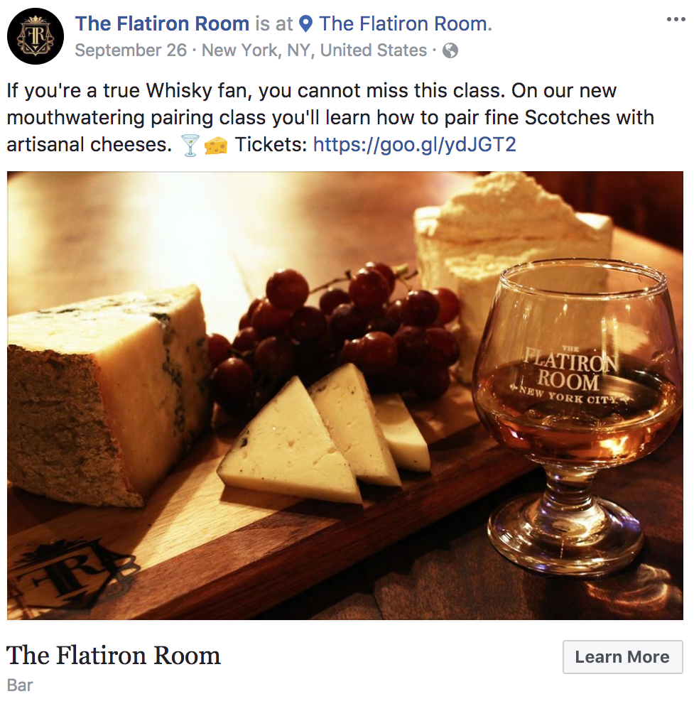Facebook events for bars and restaurants