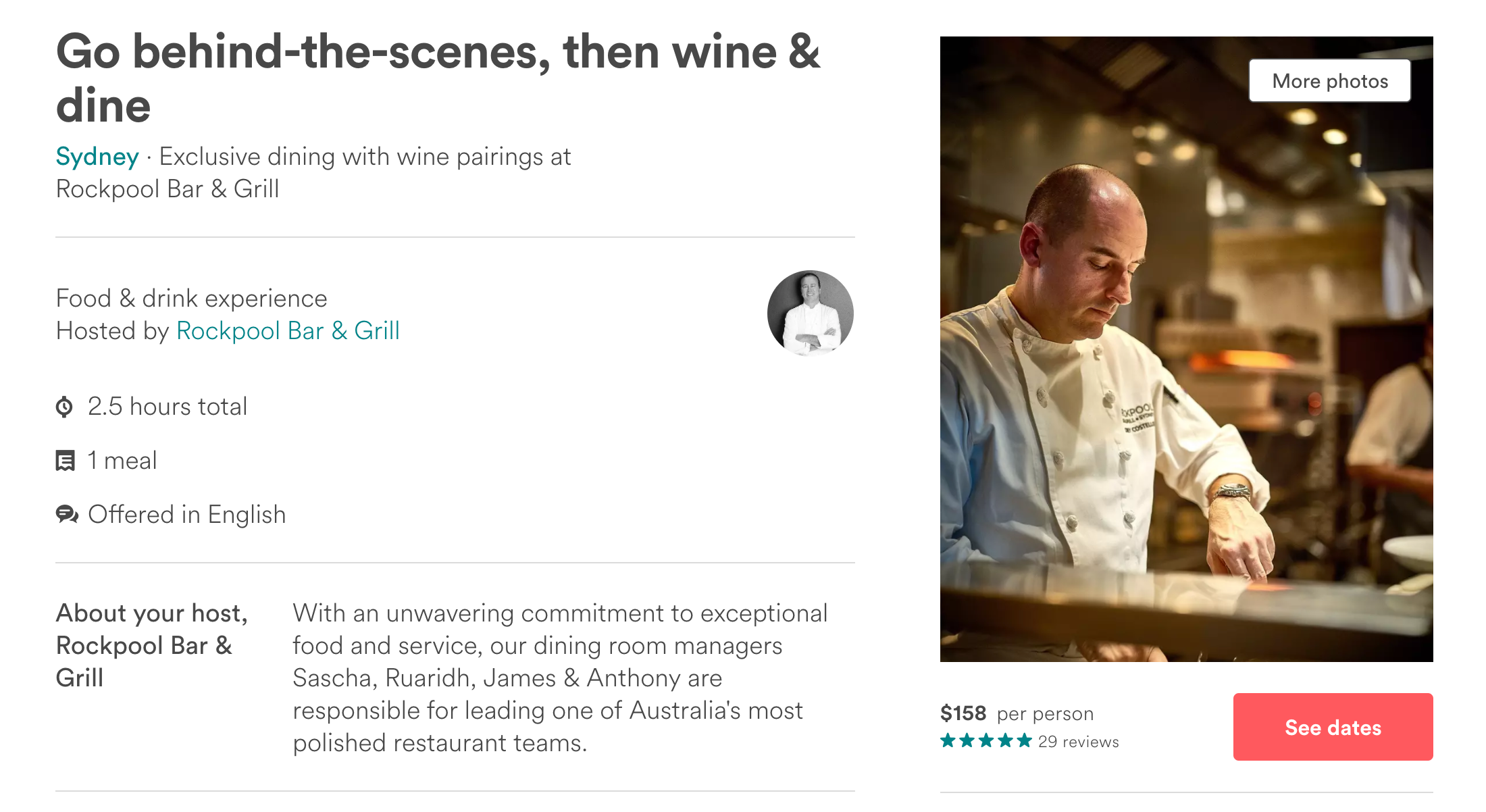 Airbnb experiences for bars and restaurants