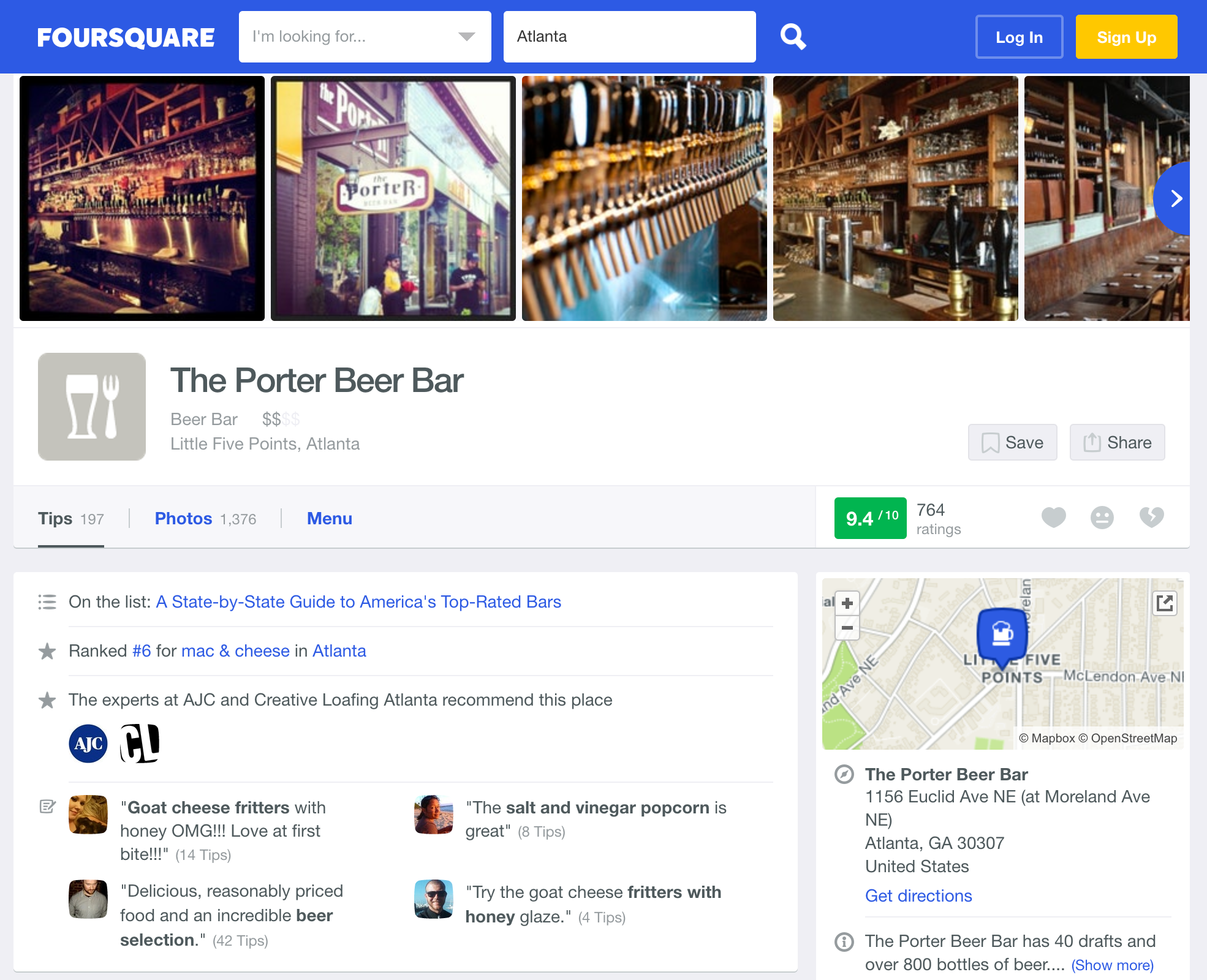 Foursquare marketing for bars and restaurants