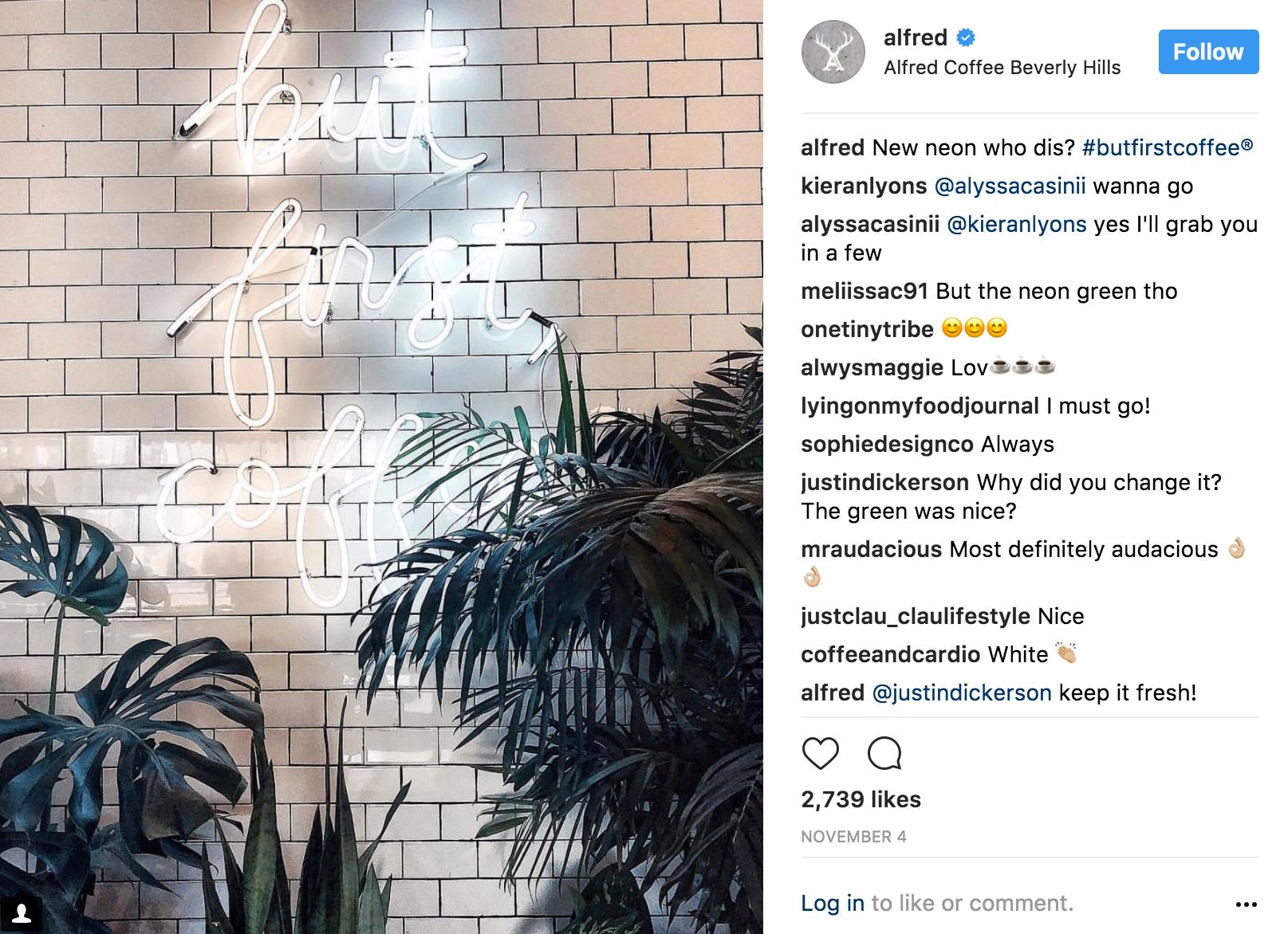 Instagram selfie Alfred Coffee