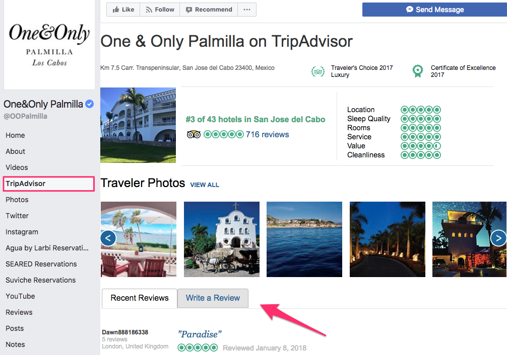 tripadvisor and facebook hotel social media strategy