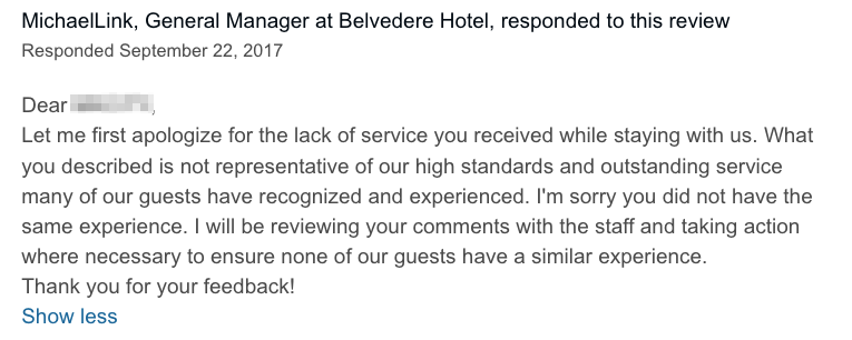 responding to reviews on tripadvisor
