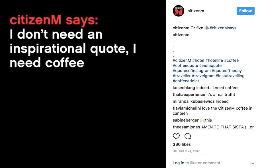 branded instagram hashtags citizenM hotel london