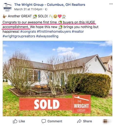 homebuyer success facebook post